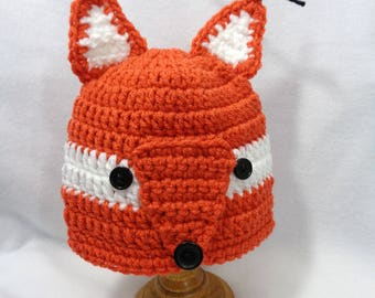 Little Rust Fox Cap, Fox Baby Hat, Halloween Animal Hat, Crochet Baby Beanie with Ears MADE TO ORDER by Charlene, Gift for Baby Girl or Boy