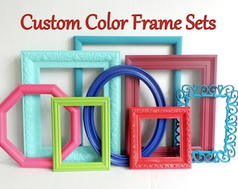 Custom Color Picture Frame Set - Bright Colorful Frames - Playroom - Childrens Room - Custom Frame Collection - Distressed - Gallery Wall