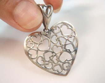 lovers heart  Multi Heart Lace Pendant Sterling Silver 925