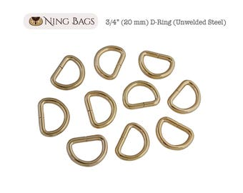 "Set of 12 // 3/4"" (20 mm) D-Rings, High Quality Unwelded D-Rings for Bags, Purses, Totes / Bag Hardware (Gold Finish)"