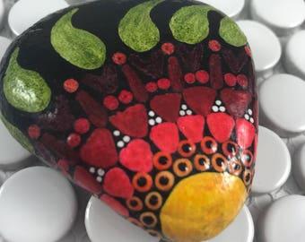 Modern Art Painted Rock, Triangle Mandala, Nature Art, Painted Stone, Rock Art, Unique Gift, Paperweight, Desk Ornament