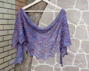 Knitted shawl, lace shawl, extra fine merino wool shawl, semi circle shawl, blue shawl, gift for her, women accessory, hand knit scarf