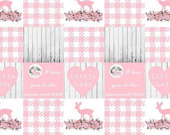 Minky Baby Blanket, Woodland Nursery Bedding, Crib Bedding, Girl Nursery Bedding, Pink Deer Moon, Baby Girl Blanket, Baby Girl Quilt