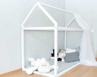 Toddler bed, House bed Pine wood, wooden bed, Montessori bed, tent bed, kids tent, kids tepee bed, wood house bed frame, white house bed