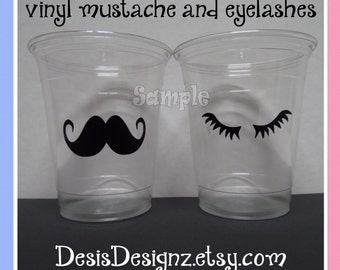 24 Gender reveal mustache and eyelashes vinyl decals Baby shower Birthday party decorations girl boy sprinkle party vinyl party cup stickers