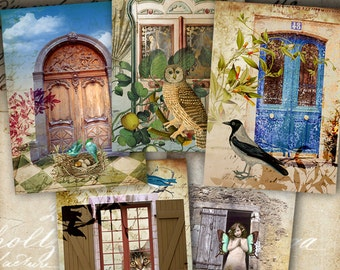 SECRET ENTRANCES - Printable Digital Collage Sheet Gift Tags, greeting cards, Art Cult downloads, paper goods, Jewelry holders, scrapbook