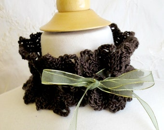 Crocheted Brown Neckwarmer Cowl. Collar. Necklette.