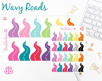 Wavy Road Stickers | Planner Stickers