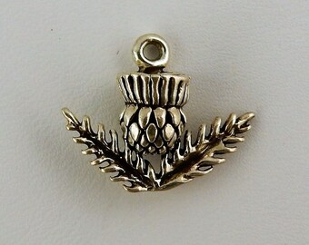 Sterling silver 3D Scottish Thistle charm