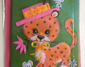 Vintage Birthday Card, Cute Leopard and Mice, Mouse, Unused