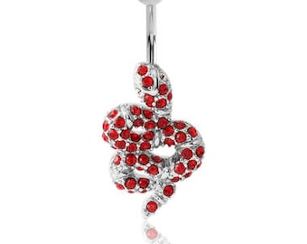 Surgical Steel With Rhodium Plated Brass Jewelled Navel Banana Belly Button Ring - Red Snake