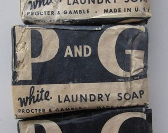 3 vintage bars of P & G white Laundry Soap made in USA, probably 1940's WWII era