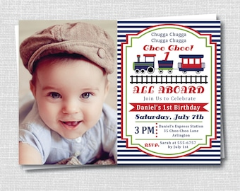 Train Birthday Party Photo Invitation - Choo Choo Train Boy Birthday Party - Digital Design or Printed Invitations - FREE SHIPPING