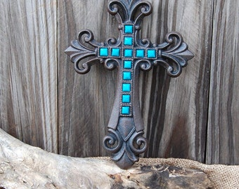 Wall cross, cast iron cross, Turquoise cross, jeweled cross, decorated cross, wall cross, rustic cross, housewarming gift, iron anniversary