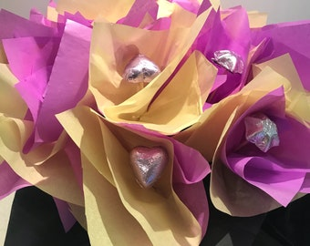 Purple and yellow choc bouquet