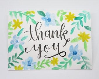 Thank You Card - Thank You Blank Card - Blank Thank you Card - Floral Thank You Card - Botanical Blank Card - Wedding Thank You - Bridal