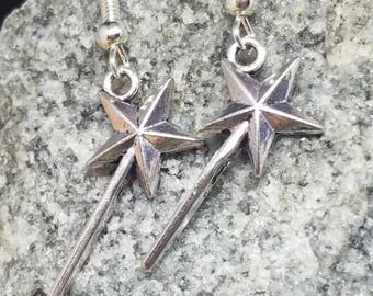 Princess wand earrings. Princess wand jewelry. Princess wand. Magic wand earrings. Magical earrings. Wand jewelry. Magic wand jewelry.