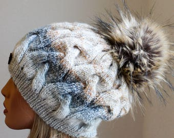 Knitted Angora Hat and Scarf Set