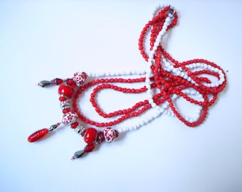 Red Floral Bead Necklace - layered light red and white floral flower triple multi strand seed beaded necklace