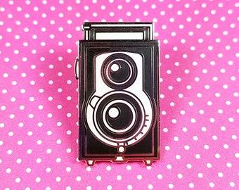 Camera pin Reflekta II hard silver plating 3cm - cute kawaii vintage camera black and white antique lapel pin brooch badge flair collar pin
