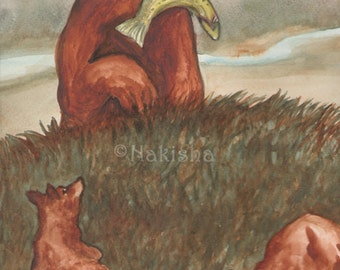 Original Art - The Empress  - Watercolor Grizly Bear Painting -The Badgers Forest Tarot