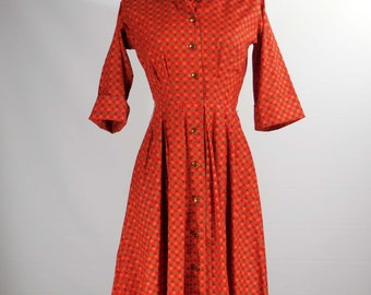 Vintage 1950s-60s cotton day dress red print 3/4 sleeve Xsm/small Kaytron label shirt waist dress