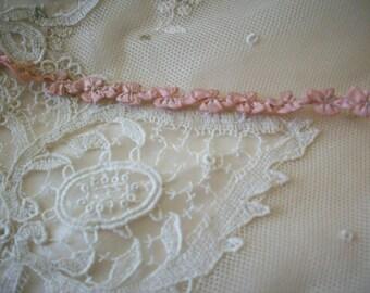 Rococo Antique silk  ribbon work authentic 1910s garland