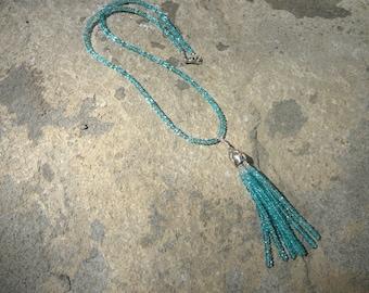 Tassel Necklace,Tassel Jewelry,Gemstone Necklace,Apatite Necklace,Apatite Jewelry,Multi Gemstone Jewelry,Multi Gemstone Necklace,Gem Tassel