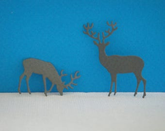 Couple cutting grey deer for scrapbooking and card (2.5 and 4 cm height)