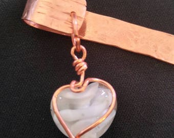 Copper Scarf Pin with a wire wrapped white swirl glass heart