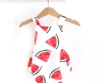 Romper was printed watermelon, criss-cross back - baby girl romper