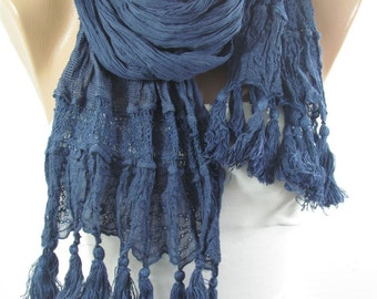 Tassel Scarf Navy Scarf Cowl Scarf Boho Scarf  Fashion Accessories Holiday Fashion  Winter  scarf Mothers Day Gift For Mom For Women Holiday