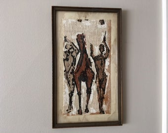 Vintage Country Western/Southwestern Painting on Linen of Cowboy/gun/horses/art/framed