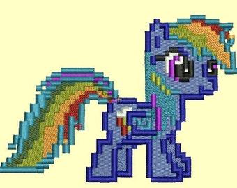 Minecraft Rainbow Pony - Pixel Pony - 3 sizes