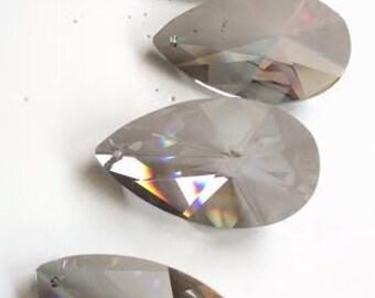 5 Asfour Satin Grey European Teardrops 50mm 30% Lead Crystal Chandelier Prisms