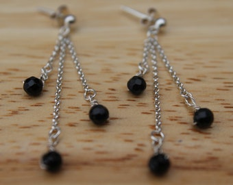 Black Faceted Spinal Chained Earrings, Evening Wear, Prom, Delicate, Sparkly, Mother, Daughter