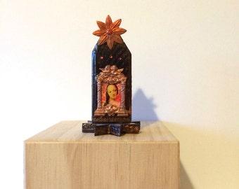 Wooden shrine of the Virgin Mary - mixed media shrine - art assemblage - prayer shrine - catholic art - religious art - Virgin Mary art -