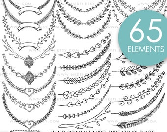 Hand Drawn Laurel Wreaths Clip Art No.2, Instant Download, Personal and Commercial, Doodle Clipart