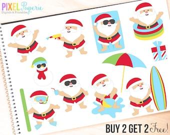 santa clipart clip art summer beach tropical pool - Vacation Santas Digital Clipart - BUY 2 GET 2 FREE