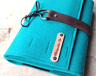 Organizer calendar notebook wool felt & leather, TURQUOISE