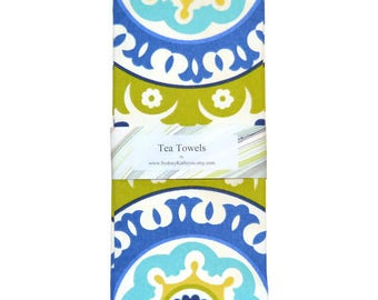 Tea Towels, Blue and White TeaTowels, Blue Vine and Green Tea Towels, Set of 2, Decorative Kitchen Towels