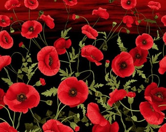 "Tuscan Poppy 24"" x 44"" Poppy Panel from Timeless Treasures by the panel"