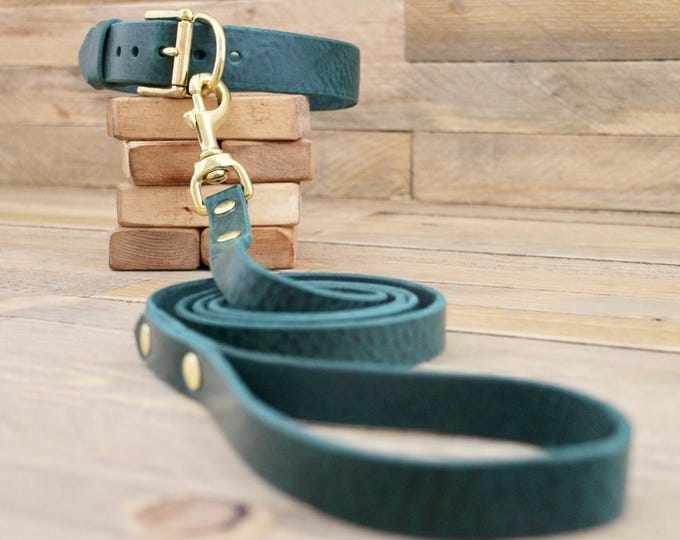 Collar and leash set, Dog collar, Leather leash, Brass hardware, Forest, FREE ID TAG, Handmade leather collar, Leash, Collar, leather.