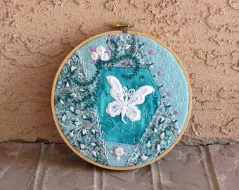 Hoop Art, Turquoise Wall Hanging, Crazy Quilt, 7 Inch Hoop, Hand Embroidery, Embellishments, Crazy Quilt, Decor, Applique Art, Butterfly