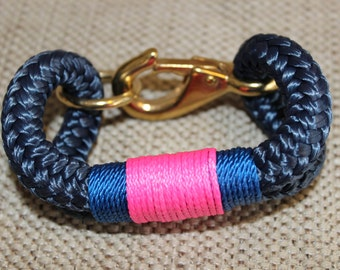Customized Maine Rope Bracelet - Navy Rope - Pink/Cobalt - Made to Order