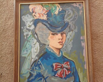 """Vintage Paint by Number """" Potrait of a Young Woman"""" FRAMED"""
