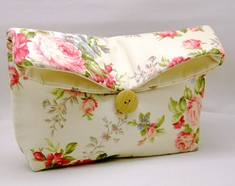 Foldover clutch, Fold over bag, clutch purse, evening clutch, wedding purse, bridesmaid gifts - Roses (Ref. FC78)