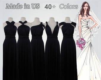 Black long bridesmaid dress infinity bridesmaid dress long infinity dress black bridesmaid convertible wrap dress, prom dress