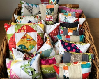 Quilted pin cushions with rice stuffing