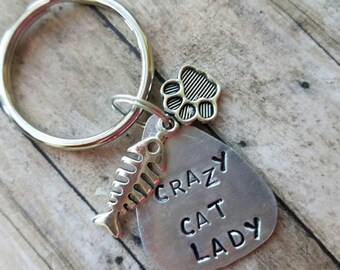Crazy Cat lady gift, cat lover gift, Mothers day for friend gift funny keychain gift for her, funny pet gift mother gift from cat